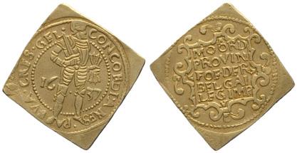 The Gelderland 1637 gold ducat klippe (Amsterdams Historisch Museum, inv.nr. KA 10469)