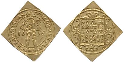 Overijssel 1616 gold ducat piedfort klippe (Amsterdams Historisch Museum, inv.nr. KA 11640)