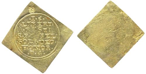 The Middelburg 1574 commemorative medal, aka gold ducat klippe (Teylers Museum, inv.nr. TMNK 05147)