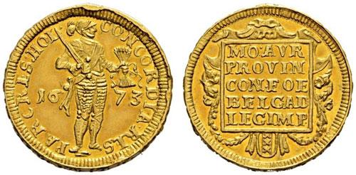 Amsterdam 1673 quadruple piedfort ducat