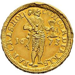 Amsterdam 1673 gold ducat piedfort