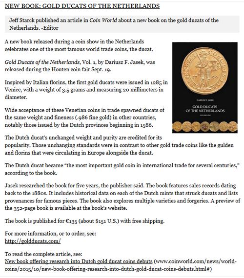 The Numismatic Bibliomania Society Esylum: Volume 18, Number 41, October 11, 2015