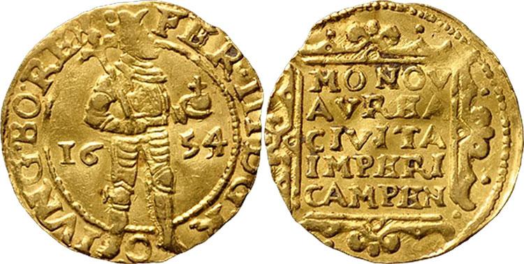 Kampen 1654 over 1653 ducat