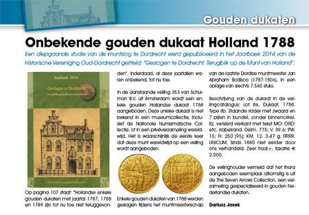 Onbekende gouden dukaat Holland 1788